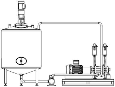 Hier ist der Einbau des hydrodynamischen Kavitators ROTOCAV  in einer Anlage zur Gewinnung von Biokomponenten aus pflanzlichen Matrizes