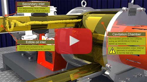 Video animation of the ROTOCAV hydrodynamic cavitator for edible oils refining - Degumming, neutralization, bleaching